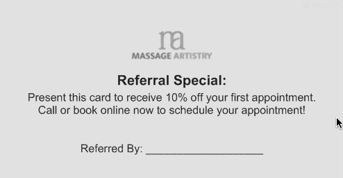 Massage Artistry Referral Discount